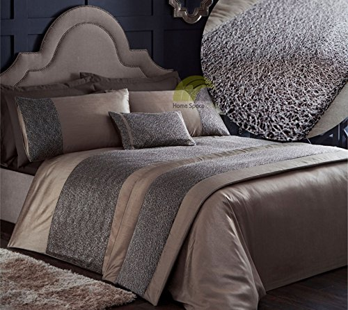 Cocoa Brown King Size Quilt Duvet Cover & 2 Pillowcase Bedding Bed Set Modern With Silver Netting