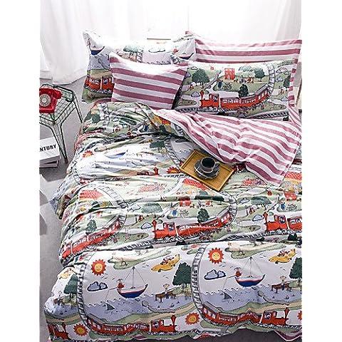 X&F cartone animato per bambini figli matrimoniale 1pc consolatore caso + 2pcs cuscino sham + 1pcs lenzuolo set biancheria da letto , queen