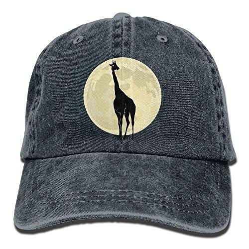 Jxrodekz 2018 Adult Fashion Cotton Denim Baseball Cap Giraffe with Moon Classic Dad Hat Adjustable Plain Cap 6004
