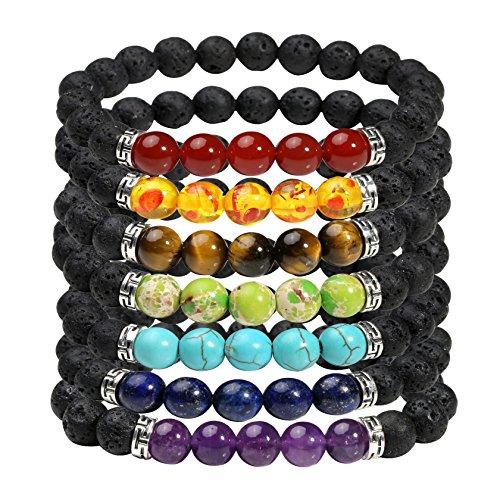 MILAKOO 7 Stück 8mm Lava Rock Armband mit ätherischen Ölen Diffusor Männer Frauen Heilung Perlen Armband - Großhandel Girls Fashion