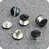 10 Qualitäts Gürtelschrauben schwarz Buchschraube 5 mm Schraubniete