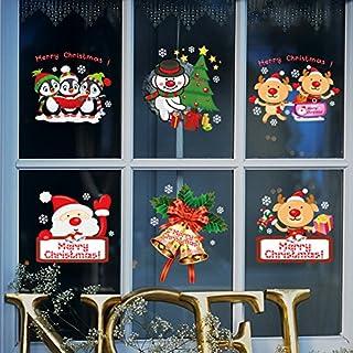 Heekpek Noël Autocollants Fenetre Amovibles Décoration Stickers Muraux pour Fenêtres Home Decor 30 * 90cm 2pcs (A)