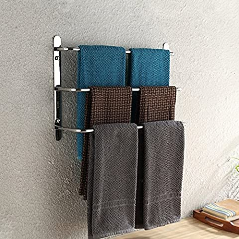 Contemporary Handtuchhalter 3 stangen Mirror poliert Finish 304 Edelstahl Badezimmer Wand montiert Chrom, 45 × 13 × 32 cm (17,7 × 5,1 × 12,6 Zoll)