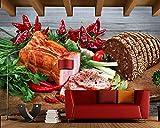 Yosot Schinken Brot Gemüse Pfeffer Schneidbrett Essen 3D Tapeten Fast Food Shop Restaurant Esszimmer Küche Wandbilder-450Cmx300Cm