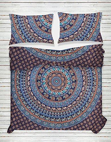 THE ART BOX Blue Elephant Mandala Indischen Bettbezug Bettwäsche Tagesdecke 3 Stück Baumwolle Bettbezug Set Queen Size 85x90 Zoll (3 Queen-size-schlafzimmer-set Stück)