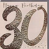 Belly Button Designs hochwertige Glückwunschkarte zum runden 30. Geburtstag aus der Paloma-Serie mit Prägung, Folie und Kristallen BB468
