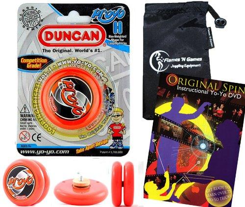 Duncan ProYo YoYo (Orange) Ideal Yo Yo für Anfänger + 75 Yo-Yo Tricks DVD in Englisch + Stoff Reisetasche! Große YoYo für Kinder und Erwachsene! (Yo Proyo Yo Duncan)