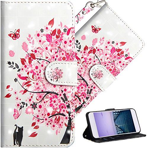 COTDINFOR Huawei Y6 2018 Hülle für Geschenk Lederhülle 3D-Effekt Painted Kartenfächer Schutzhülle Protective Handy Tasche Schale Standfunktion Etui für Huawei Y6 2018 Flower Tree Cat YX.