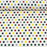 MAGAM-Stoffe ''Nasch-Mich'' Baumwoll-Stoff | bunter Kinder-Stoff aus 100% Baumwolle | Meterware ab 50cm | FX (Sterne auf weiß)