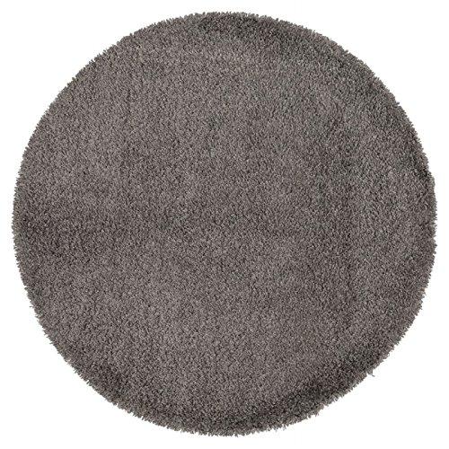 Alterego - Tapis design 'CAVA' rond 200 cm à poils longs gris
