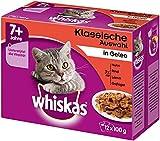 Whiskas 7+ Katzenfutter Fleischauswahl in Gelee, 12 Beutel (12 x 100 g)