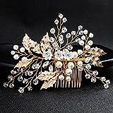 Timeracing élégant Girl Feuilles Strass Fausse Perle Peigne à cheveux broches Barrettes à bijoux de mariée Headwear Cadeau idéal Doré
