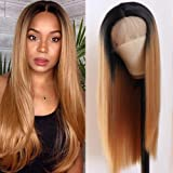 Lovestory Ombre Blonde Synthetic Lace Front Wig Long Silky Straight Glueless with Baby Hair Heat Resistant Free Part Blonde L