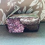 Borsa trucco Flash, sirena spirale reversibile paillettes borsa trucco portatile, bicolore studente matita caso, borsa make-up 21,5 x 10,5 x 8CM Oro Rosa