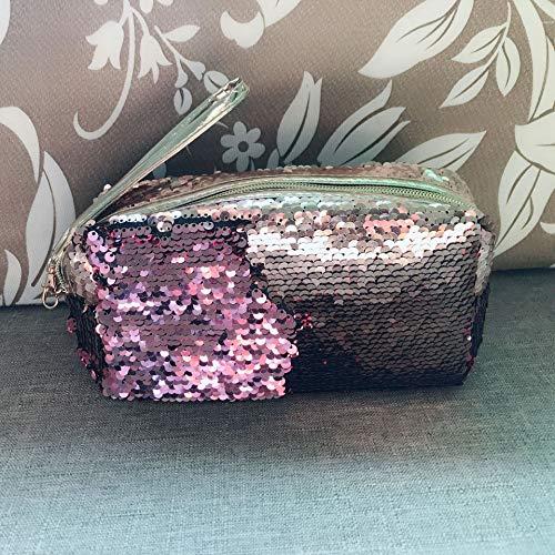 Chiroro cosmetici borsa brillante sirena beauty case trousse make up borsa di trucco borse trucchi cosmetici organizzatore astuccio matite portapenne per ragazze, inchiostro e oro rosa