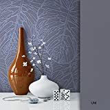 NEWROOM Blumentapete Tapete grau Blätter Floral Vliestapete schwarz Vlies moderne Design Optik Tapete Modern inkl. Tapezier Ratgeber