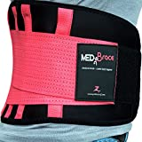 "MEDiBrace Lower Back Support Brace Medical Grade for Injury Prevention during Sports Exercise or Pain & Discomfort Relief from Sciatica, Slipped Disc, Hernia, Spinal Stenosis | Waist Belt with Adjustable Double Strap | Improve Lumbar Posture for Men & Women (Waist 27"" to 33"" (68-84cm) MEDIUM, Taffy PINK)"