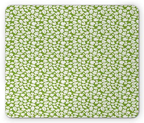 VAICR Mauspad Floral Mouse Pad,Silhouette Autumn Season Leaves of Forest Nature Themed Repeating Pattern,Non-Slip Rubber Base,Laser Optical Mouse Compatible,Lime Green and White - Lime Green Base