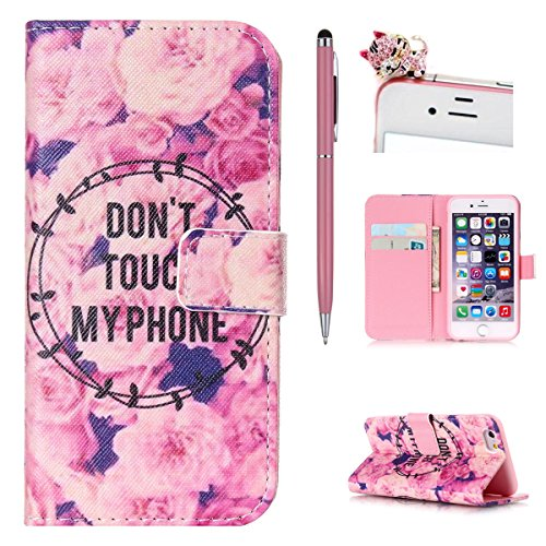 iPhone 4S Wallet Case Cover - Felfy Ultra Slim Cuir Coque Pour Apple iPhone 4/4S Flip Rose Ocean Sea Beau Scenery Motif PU Étui Portefeuille Housse Etui Holster + 1x Pink Touch Stylus + 1x Bling Pink  DON'T TOUCH MY PHONE