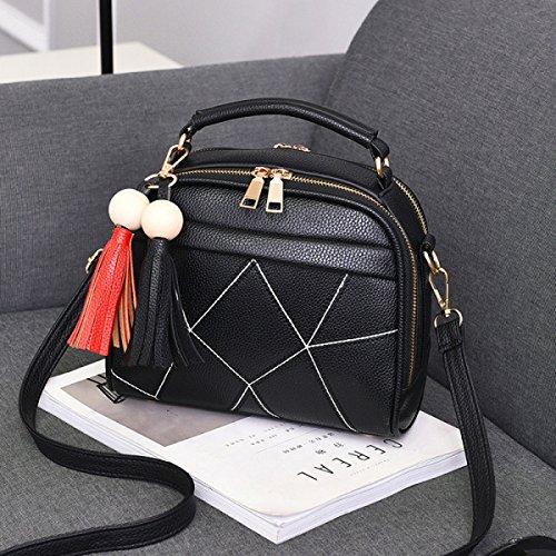 FZHLY Sacchetto Di Donne Nuova Versione Coreana Piccoli Fiori Profumati Vento Moda Tracolla Messenger,Purple Black