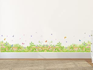 Amazon Brand - Solimo Wall Sticker for Home (Floral wilderness, ideal size on wall , 140 cm X 45 cm),Multicolor