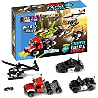Creative Builders, Super Police Chase, Includes Police Car, Police Helicopter, Police Jeep, Flying Drone, and Criminal Semi Truck, Lego Compatible