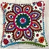 Indische Baumwolle Kissenbezug böhmischen Pailletten Kissen Hand bestickt Suzani Kissenbezug Boho Dekor handgefertigte Couch Kissenbezug