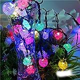 ZUOAO 6M 30led Guirnaldas Luminosas Solar Luces de Cadena de Cristal Globo Luces al Aire Libre para la Decoración de Navidad, Jardín, Hogar, Boda (Multicolor)