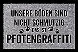 SCHMUTZMATTE Fußmatte PFOTENGRAFFITI Hund Tierisch Türmatte Geschenk Einzug Hellgrau