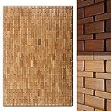 casa pura Tappeto da Bagno Moderno in bambù Linea Mia | Naturale | per Bagno e Sauna | 60x90 cm