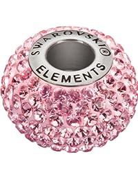 Grand Trou Perles de Verre a enfiler de Swarovski Elements 'BeCharmed Pave' 14.0mm (Light Rosé, Acier affiné), 12 Pièces
