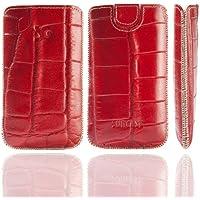 Original Suncase Echt Ledertasche (Lasche mit Rückzugfunktion) für Samsung Galaxy Ace Plus S7500 in croco-rot