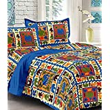 Jaipur Prints 100% Cotton Rajasthani Tradition King Size Double Bedsheet with 2 Pillow Cover - Multi, 20