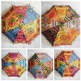 Sonnenschirm im indischen Mandala-Stil, dekorativ verziert mit Stickerei, idealer Sonnenschutz für Damen, 10 Stück