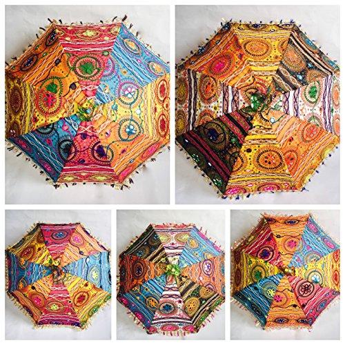 Bazzaree 10Großhandel indische Baumwolle Sonnenschirm Stickerei Damen Regenschirm Sun Protect Mandala