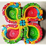Diya For Decoration | Diya For Puja | Diya Holder Decorative | Terracotta Decorative Dipawali | Diwali Gifts And Decoration(Set Of 4,Handmade)