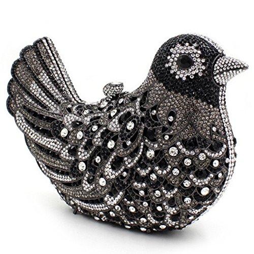 Santimon Donna Pochette Borsa Uccello Custodia Rigida Lusso Borsellini Diamante Cristallo Borse Da Seta Con Tracolla Amovibile e Pacco Regalo 15 Colori nero