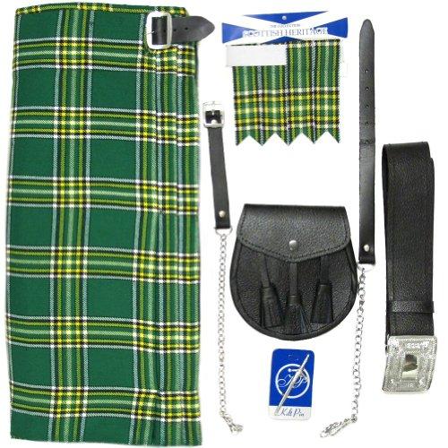 "Tartanista - Herren Kilt-Set - 5-teilig - Irish National - Taille (Nabelhöhe): 96,5cm (38"")/Länge: 61cm (24"")"