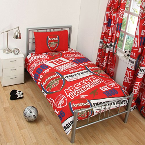 Arsenal FC Patch Single Duvet Cover and Pillowcase Set + Football Colour Changing Light by Arsenal F.C. (Arsenal Fc-patch)