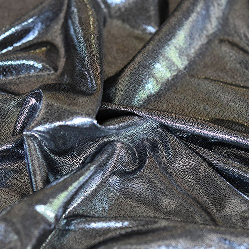 Silber/Schwarz Korean Knit Jersey Lame Dot Folie Kleid Stoff 152,4cm 150cm breit, Meterware,