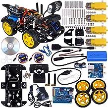 Kuman SM3 Wi-Fi Robot Kit de coche para Arduino, 4 cilindro de Utility vehículo inteligente Robotics Arduino Robot DS wifi cámara HD inalámbrico Kit de coche Robot Smart 7,4 V