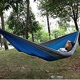 Enjoydeal Outdoor Traveling Camping Parachute Nylon Fabric Hammock Light Blue