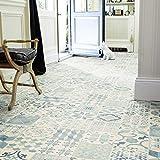 livingfloor rivestimento per pavimenti in PVC, in stile shabby retrò, effetto piastrelle con design Mediterraneo, 2 m di larghezza e larghezza variabile, colore bianco e nero