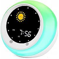 I·CODE Réveil d'apprentissage au sommeil pour enfant, avec affichage de la lune et du soleil, veilleuse, alarme et son…