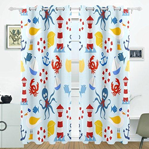 COOSUN Nautische Muster Blackout Vorhänge Verdunkelung Thermische Isolierte Polyester Tülle Oberen Vorhang für Schlafzimmer, Wohnzimmer, 2 Panel (55 x 84 l Zoll)