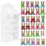 VILLAVIVI Schuhschrank Schuhgestell Lagerung + 40 Paar Schuhe Zubehör Möbel Accessories für Barbie Puppen Doll