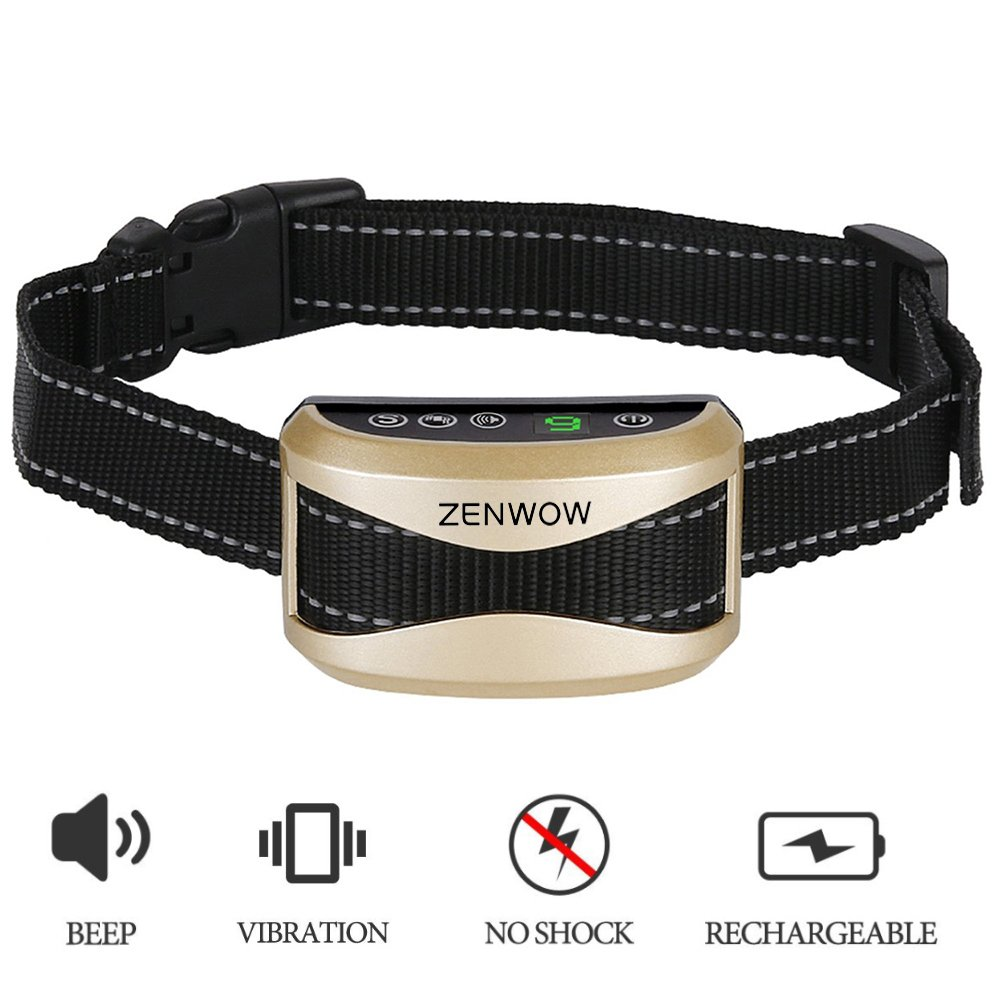 Dog Bark Collar,Zenwow Anti Bark Rechargeable Rainproof Training Collars with Sound and Vibration / Humane No Shock – 7 Sensitivity Levels to Stop Barking for Small Medium Large Dogs