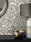 LUXUS Glanz Tapete im edlen Barock Design in Taupe Farbe , außergewöhnlicher und extrem aufwendig produzierter Wandschmuck , Glasperlen Design auf einer wunderbar glänzenden Vliestapete Oberfläche