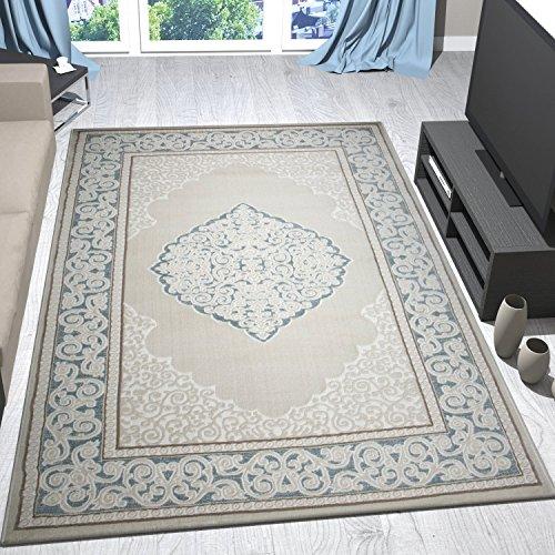 Alfombra clásica turquesa, beige y crema con ribete y motivo de ornamentos formando un relieve - VIMODA, Maße:80x150 cm