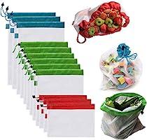 OUNONA Bolsas Compra Reutilizables Ecológicas Bolsa de Malla para Almacenamiento Fruta Verduras Juguetes Lavable y...